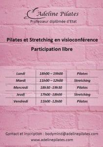 Flyer des cours de Polates et stretching d'Adeline Pilates
