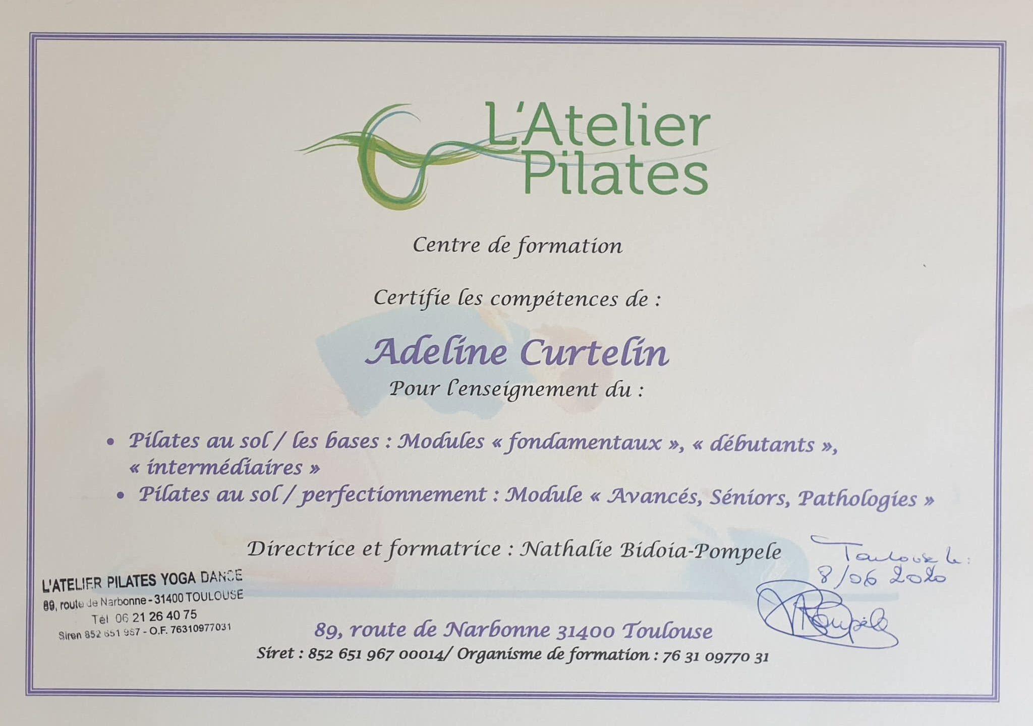Nouveau diplôme de Pilates d'Adeline Pilates